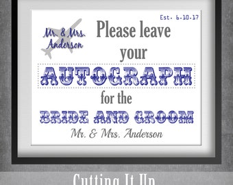 Destination Wedding Guest Book Sign, Autograph Sign, Travel Theme, Airport, Airplane, Destination Wedding, Guestbook Sign