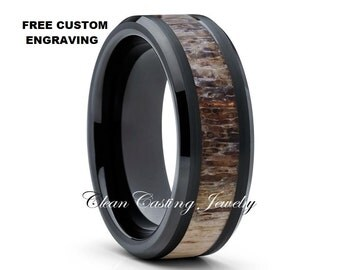 antler ringblack tungsten ringtungsten wedding bandtungsten wedding ring men womencomfort fit ringanniversary band8mm tungsten - Tungsten Wedding Rings For Men