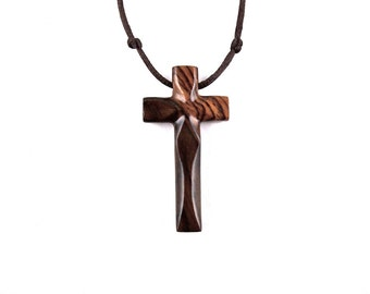 Wood Cross Necklace, Mens Cross Necklace, Wooden Cross Pendant, Mens Cross Pendant, Mens Wood Cross, Christian Jewelry, Hand Carved Cross