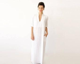 Short Sleeve Wedding Dress, Long White Dress, V Neck Wedding Dress, Casual Wedding Dress, Minimalist Dress, Plus Size Wedding Dress, Modern