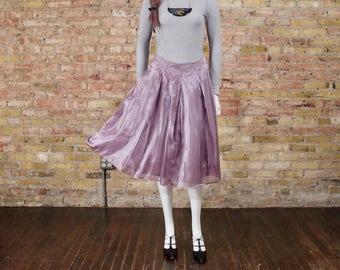 pretty plié full pleated skirt / lavender / 90s skirt / ballerina / gauzy skirt / a line skirt / midi / ladylike skirt / bohemian lux