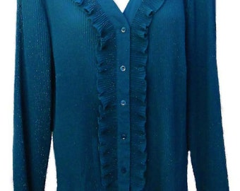 Teal Ruffled Blouse with Long Sleeves and Button Front - Fits Size Large