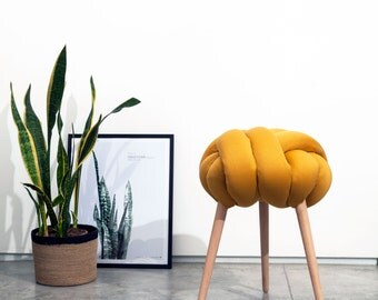 Mustard Knot stool, design chair, modern chair, industrial stool, wood stool,