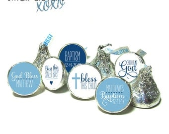 BAPTISM blue kiss stickers - Child of God kiss stickers ~ for Hershey's Kisses® Chocolate (108 stickers)