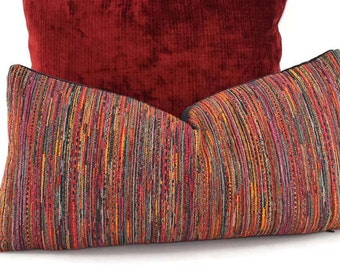 Multi Red, Black, Gold, Gray & Orange Stripe Woven/Chenille Lumbar Throw Pillow Cover, 10x20