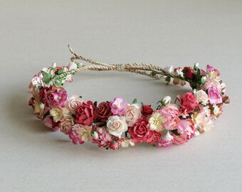 Peony Flower Crown - Boho headpiece - Pink, red and peach - Made of mulberry paper flowers and natural twine