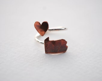 Pennsylvania Heart Love Twist State Ring (Sterling Silver & Copper PA Ring)
