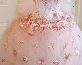 Romantic Pink Embroidered Floral Lace Corset Drop Waist Strapless Renaissance Princess Bridal Wedding Ball Gown
