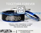 Timeless Doctor Who Inspired His 8MM Tungsten and Hers 2MM 925 Sterling Silver 1.5 Carat Cushion CZ Wedding Ring Set, Custom Engraved