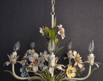 Beautiful old tole Flower Chandelier with various metal flowers.