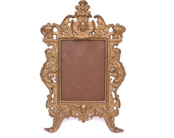 Antique Brass Photo Frame, Art Nouveau Frame, Baroque Gold Photo Frame, Ornate Victorian Picture Frame, Free Standing Frame, Easel Frame