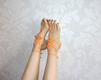 Barefoot sandals, foot jewerly, knitted foot jewerly, orange knit flowers, m-001