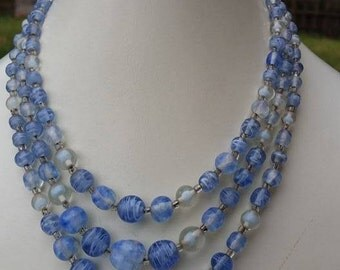 Vintage strands blue glass beads necklace made in Japan