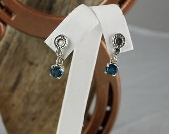 Sterling Silver Dangle Earrings - London Blue Topaz Drop Earrings - 6mm Natural London Blue Topaz Drops on Sterling Silver Posts