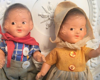 "Pair Vintage ARRANBEE R&B ""Dutch"" Composition DOLLS 9"" Originals WOW!!!!"