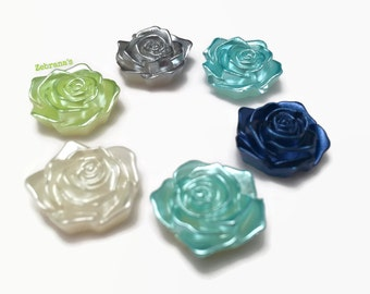 Plastic rose magnets - set of 6 (handmade magnets kitsch quirky magnets rose flower fridge magnets memo magnets blue green gray wedding)