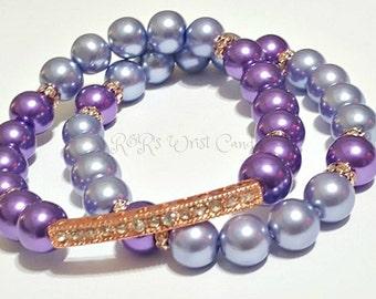 Purple,Perwinkle, Blue, Rose Gold, Beaded Bracelet Set, Metallic, Minimalist,Stretchy, Womens Gifts, Handmade Custom Beaded Jewelry