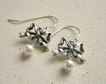 Sterling Silver Bow Earrings with Ivory Pearls - Dainty Jewelry