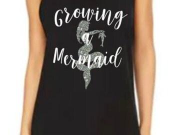 Growing a Mermaid, Mermaid Tank, Pregnant, Hoping for a mermaid, Mermaid baby, Pregnancy Top, Pregnant Mermaid Shirt, Mermaid Mom