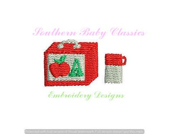 Lunch Box Thermos Fall Autumn Back to School Lunchbox Design File for Embroidery Machine Monogram Add On Instant Download