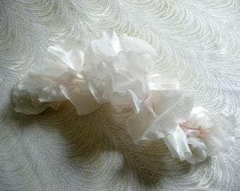 Large White Silk Rose Petal Garland Pale Pink Highlights Millinery Spray for Hats, Wedding Gowns, Sashes, Costumes