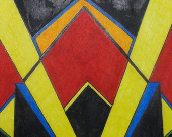 Art Deco geometric marker drawing