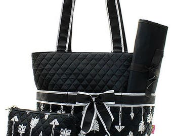 Personalized Black Arrow Diaper Bag Quilted Baby Shower Gift