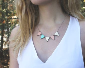 Pennant Wood Necklace // Blush and Mint Bunting Necklace / Reversible / Wood Necklace / Peach and Mint / Geometric Necklace // Statement Bib