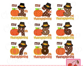My 1st Thanksgiving,My 2nd Thanksgiving,My 1st through 9th Thanksgiving, Pilgrim hat numbers,Thanksgiving numbers -4x4 5x5 6x6 inch
