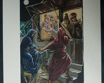 1940s Antique John Mansbridge Print, Available Framed, Nativity Art, Christmas Wall Art Xmas Picture Joseph and Mary Gift Bethlehem Wall Art