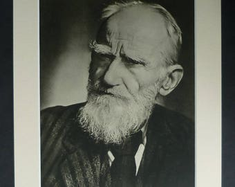1940s Antique George Bernard Shaw Print, Available Framed, Stage Art Yousuf Karsh Wall Art Theatrical Picture Theatre Photography Actor Gift