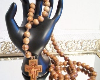 Vintage San Damiano Wood Rosary Beads Religious Catholic Christianity Collectibles
