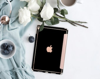 Simply Black with Rose Gold Smart Cover Hard Case for iPad Air 2, iPad mini 4 , iPad Pro , New iPad 9.7 2017 - Platinum Edition