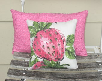 Throw Pillow Strawberry Decor, Accent Pillow in Pink and White perfect in cottage decor, farmhouse decor or patio decor, repurposed vintage