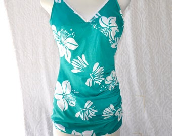 70s Teal One Piece Swimsuit | Retro One Piece Bathing Suit. Pin Up Skirt Swimsuit. Mod Swim Wear. Cone Bust Swimsuit. 1970s Bathing Suit | L