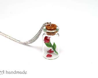 Red Rose with Fallen Petals in a Glass Jar Necklace