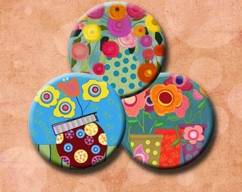 WHIMSICAL FLOWERS -  Digital Collage Sheet 1.837 inch circles for 1.5 inch button images.  Instant Download #203.