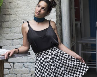 Checkered Pleated High Waisted Black and White Skirt, Cotton Checkered Pleated Skirt, Geometric Print, Knee Length Skirt, Made to Order