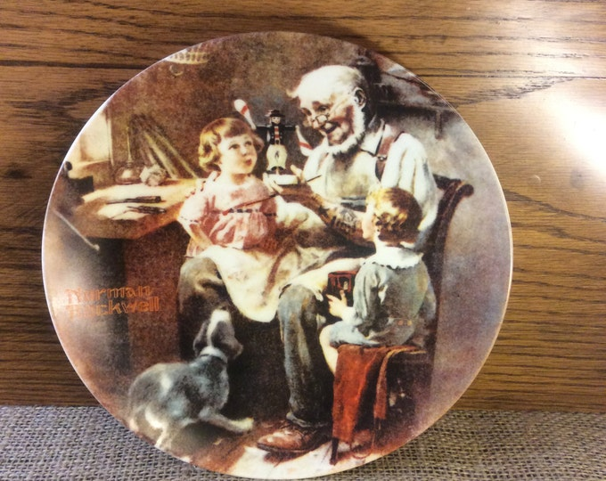 Norman Rockwell plate, vintage Norman Rockwell collectors plate from 1977, The Toy Maker, Rockwell collection, Plate collectors, vintage pla