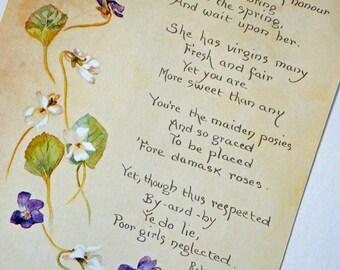 Violets Picture, Spring flowers Botanical Illustration, vintage botanical flower illustration, springtime