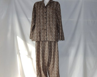 Sz L Leopard Print Flannel PJs - Women's - Cotton - Animal Print Pajamas -  Cheetah Zoo Wild Cat - Warm Winter - Size L