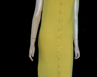 Vintage Phil Rose shift dress CA Sleeveless Wool Knit Sz S Scalloped front Covered button front Hong Kong