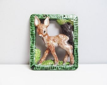 Vintage ceramic art Wall Hanging, bambi deer, country rustic decor children room decoration Hungary green brown handpainted Height 7 in/17cm