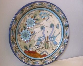 Vintage Ken Edwards Tonala Large Blue Decorative Plate w Birds Wall or Tabletop Signed