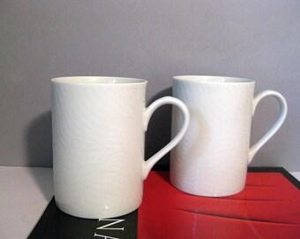 Pair Swid Powell Modernist Mugs White Stripes White on White
