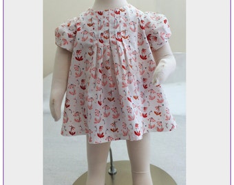 Baby girls dress pdf sewing pattern SHELLEY DRESS or top sewing pattern sizes 00-8 years, multi options includes matching knickers