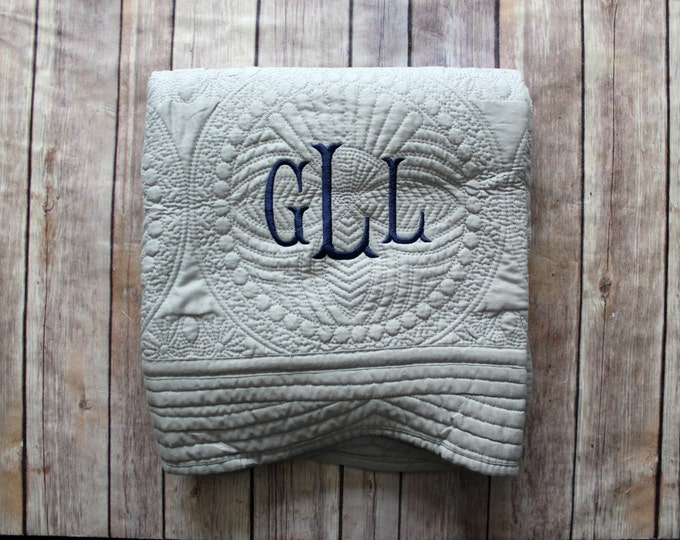 Monogrammed Baby Quilt, Personalized Baby Blanket, Personalized Baby Quilt, Monogrammed Baby Blanket, New Baby, Baby Boy Quilt, Grey Baby