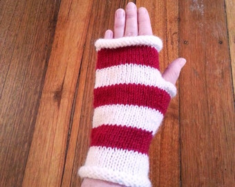 Gift for her - handmade gloves - red and white - birthday gift - fingerless gloves - womens gloves - red mitten - womens mittens - valentine