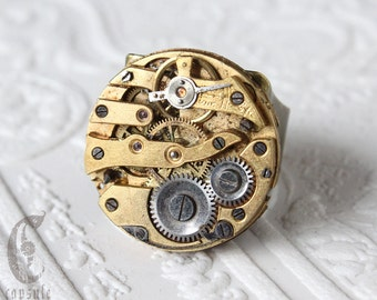 Steampunk Industrial Gold Round Adjustable Bronze Ring with Antique Pocket Watch Movement