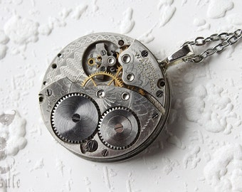 Steampunk Statement Necklace - Steampunk Pendant - Waltham Guilloche Etch Antique Pocket Watch Movement Pendant Gift